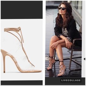 Zara nude high heel vinyl sandals